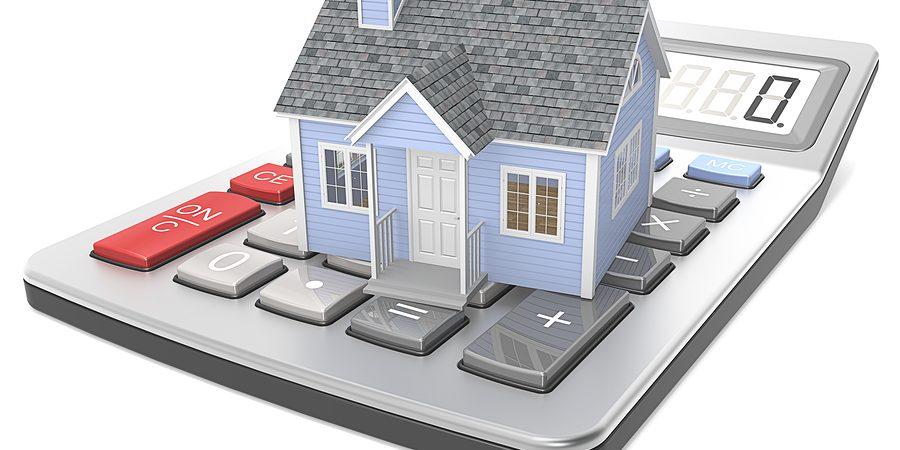 Illustration of house on calculator