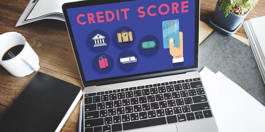 Laptop displaying credit score
