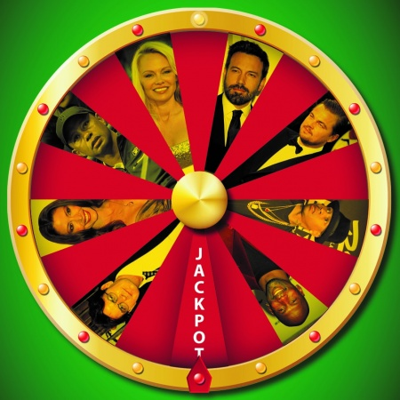 Roulette Wheel with images of celebrity gambling losers