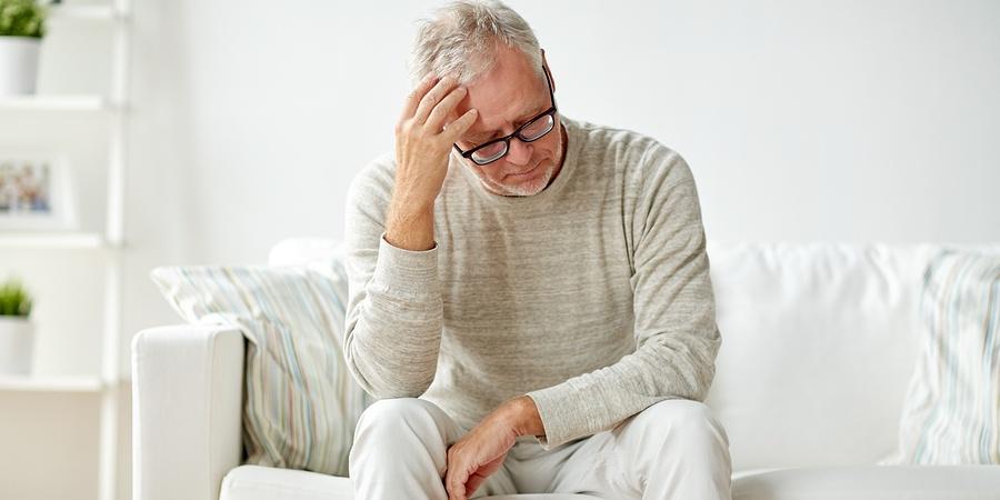 Older unhappy man