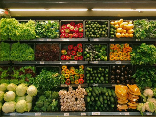 Fruit and vegetable displayed outside a grocers