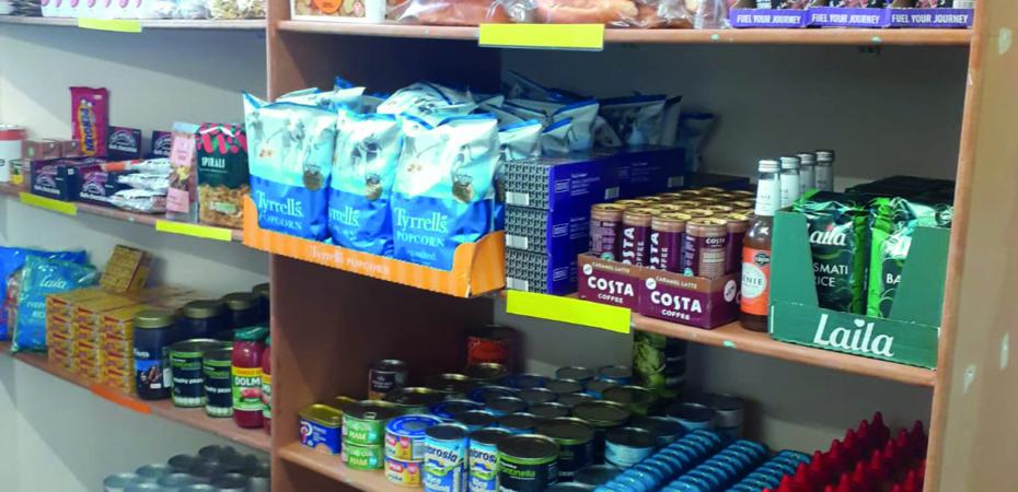 Food shelves in a foodbank