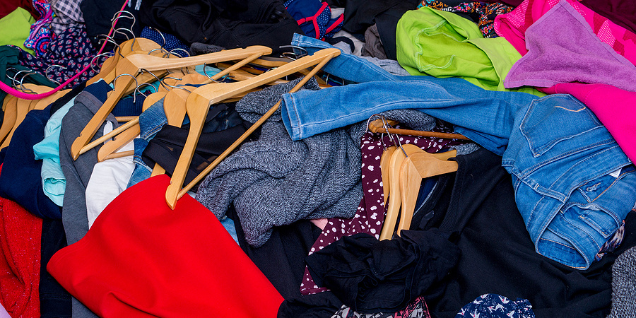 Large pile of used clothes